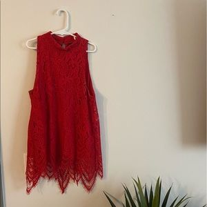 Francesca's Red Lace Sleeveless Top size xs